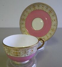 BEAUTIFUL TEACUP AND SAUCER BY ROYAL WORCESTER PINK AND GOLD ENGLAND EUC