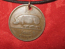 ANTIQUE VINTAGE  RUSTIC IRISH IRELAND PIG/HARP COIN PENDANT NECKLACE