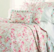 SUMMER COTTAGE PINK PEONY ROSES AQUA SHABBY COTTAGE CHIC KING QUILT PILLOW SHAMS