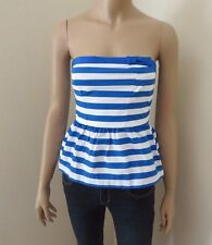 NWT Abercrombie Strapless Striped Tube Top Womens Size XS Kids Size XL Blue