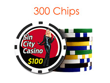 Custom 8 Stripe Design Poker Chips w/Your Logo/Design in Full Color - 300 chips