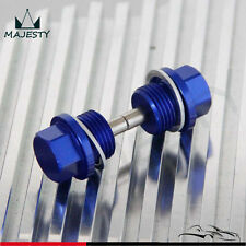 2PCS Engine Magnetic Oil Pan Drain Plug Bolt Anodized Crush Washer M18 x 1.5 BL