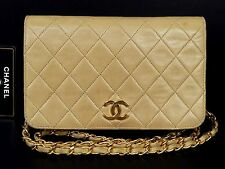 Auth CHANEL GHW Beige Lamb Leather Vintage Shoulder Bag Crossbody W19 R469