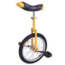 "16"" Wheel Uni-Cycle Butyl Tire Height Adjustable Unicycle Cycle Yellow Exercise"