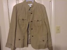 Dressbarn Nehru style XL cotton with poly lined 4 button long sleeve jacket