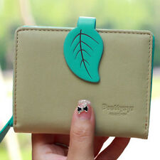 Women Leather Leaves Cute Small Coin Change Short Wallet Debit Credit Card Case