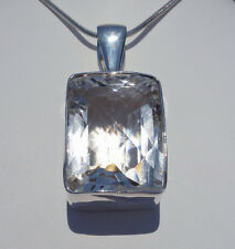 Eye Popping CLEAR QUARTZ Faceted Crystal Custom Sterling Silver Pendant Healing