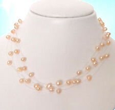 Genuine 5-6mmm Pink Pearl Illusion Floating Station Necklace