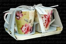 PORTMEIRION NOSTALGIC ROSES CUP MUG AND TRAY SET 2 MUGS AND TRAY