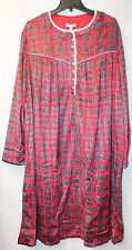 NEW WOMENS PLUS SIZE 4X 28W RED PLAID SUEDED FLEECE LONG PAJAMAS ROBE NIGHTGOWN