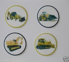 12 PRE CUT CONSTRUCTION TRUCK DIGGER EDIBLE RICE WAFER PAPER CARD CUPCAKE TOPPER