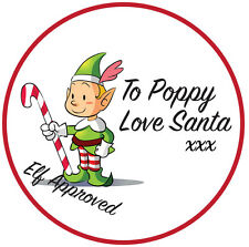 Personalised Christmas Santa Elf Approved Gift Present Labels Xmas Stickers