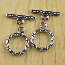 10sets Tibetan Silver tone Charm flower Toggle Clasps H0045