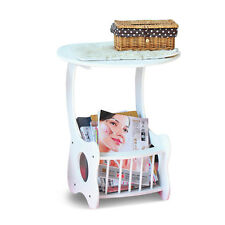Round Coffee Tea Table Sofa Side End Table Telephone Lamp Table Magazine Rack
