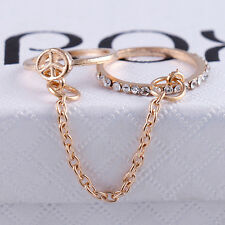 Women Crystal Simple Thin Chain Link Silver Gold Thin Chain Crystal Double Rings