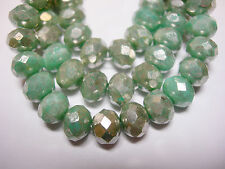 25 beads - 8x6mm Mint Green with Silver Wash Czech Firepolished Rondelle beads