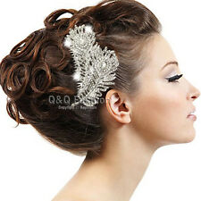Diamante Feather Leaf Silver Bridal Fascinator Hair Pin Clip Dress Slide Comb