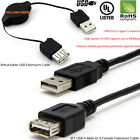 3FT Premium USB 2.0 Type A Male to Female Extension Shielded Cable Retractable