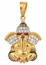 ONE GRAM GOLD PLATED GANESHA GANAPATI LOCKET PENDANT CUBIC ZIRCONIA DIAMOND S558