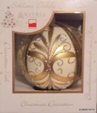 VITBIS LARGE POLISH GLASS BALL CHRISTMAS ORNAMENT CREAM GOLD SILVER NIB