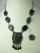 Altes Lapis-Lazuli Collier Herz Halskette Einzelstück Erbstück Tibet *1960