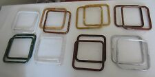 "8 Pair Assorted 7"" Square Plastic Macrame Rings Craft Supplies Purse Handles DIY"