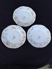 Haviland Limoges Salad Plates SCHLEIGER 57A-1 - Set of 3 Pink Roses Blue Scrolls