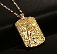 Large Gold Stainless Steel Biker Lion Dog Tag Pendant Chain Necklace XMAS Gifts
