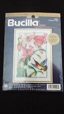"Bucilla ""HUMMINGBIRD IN FLIGHT"" CREWEL KIT PINK DAY LILLIES Large Chart NIP"