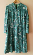 60s 70s vintage green floral day dress mod secretarial gogo geek 16 18