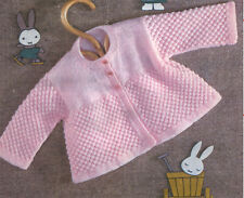 """Gorgeous easy knit baby cardigan- knitting pattern- chest 17-19"""" 3ply-4ply- BQK"""