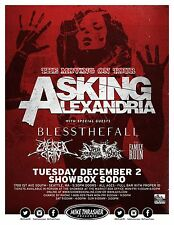 "ASKING ALEXANDRIA / BLESS THE FALL ""MOVING ON TOUR"" 2014 SEATTLE CONCERT POSTER"