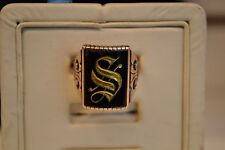 "Antique Victorian Men's 10k Rose Gold Initial ""S"" Signet Ring"