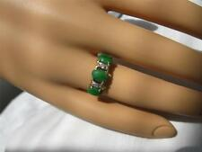 Jade Diamond 14K Wedding Engagement Ring Imperial Jadeite Jewelry Estate Gold