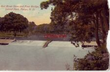 RED RIVER DAM AND FOOT BRIDGE. ISLAND PARK, FARGO, ND 1914