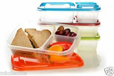 Lunch Box Containers With Lids, 3 Compartment Trays, Set of 4, Polypropylene #5