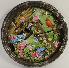 "SONG BIRDS 15"" VINTAGE WALL CLOCK Jerry Gadamus Art NEW Wildlife Battery Animal"
