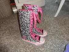 SKECHERS TWINKLE TOES BLACK SILVER HI TOPS LEOPARD PINK 11.5 BOOTS