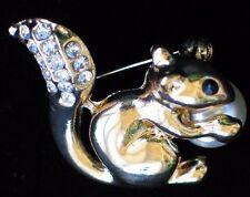 """GOLD RHINESTONE PEARL EATING NUT CUTE RODENT SQUIRREL PIN BROOCH JEWELRY 1.25"""""""