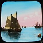 Glass Magic Lantern Slide SAILING SHIPS C1900 SHIP BOAT YACHT