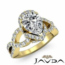 Halo Pre-Set Pear Diamond Engagement Ring GIA F Color VS2 18k Yellow Gold 2.3ct
