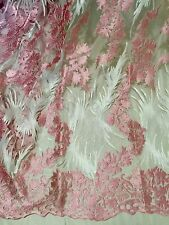"PINK WHITE EMBROIDERY RHINESTONE MESH BRIDAL LACE FABRIC 52"" WIDE 1 YARD"