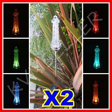 Set of 2 Solar Powered Lighthouse Garden Yard Stake Pathway Lawn Light LED Sun i