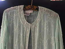 ADRIANNA PAPELL OCCASIONS 100% SILK BEADED PEARLS PALE GREEN JACKET UK 12 - 14