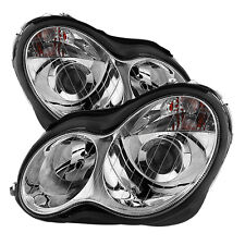 Mercedes Benz 01-07 W203 4Dr Sedan C-Class Chrome Projector Headlights Pair Set