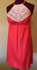 Lilly Pulitzer Orange Halter Dress Preowned Size 8 White Lace