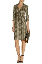 "��DIANE VON FURSTENBERG ""BNWT"",Dolores Metallic Knitted Wrap Dress,s:10US,In a��"