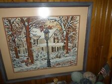 """Old New England Farmhouse Winter /Fall Framed Needlepoint 27"""" X 23"""" Great Color"""