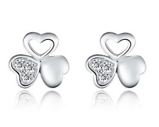 Solid 925 Silver Natural Crystal Clover Ear Stud Earrings Women Jewelry