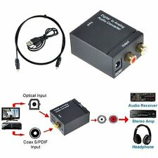 Digital Optical Coaxial Toslink Signal to Analog Audio Converter Adapter RCA 2Y